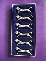 Super Set of 6 Vintage French Silver Color Metal Horse Cutlery Rests In ... - $32.74