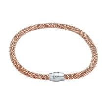 Bracelet Sterling Silver Rose Gold-Plated Diamond-Cut Bead Bangle Bracel... - $67.32