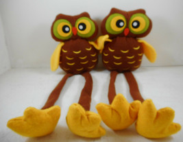 Pair Fabric Owl Shelf Sitter Long Legs Fall Brown - $17.81
