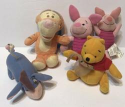 "Lot of 5 Winnie the Pooh & Friends Plush Pooh Piglet Eeyore Tigger 4-6"" - $19.53"