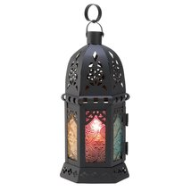 Moroccan Candle Lantern, Decorative Moroccan Lanterns Outdoor Stained Glass - $18.99