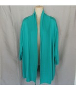 Worthington Woman sweater cardigan 3X  swing open front  green 3/4 sleeves - $12.69