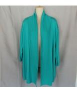 Worthington Woman sweater cardigan 3X  swing open front  green 3/4 sleeves - $12.69