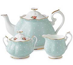 Royal Albert Polka Rose 3 PC Tea Set Teapot Sugar Bowl & Creamer New Boxed - $116.90