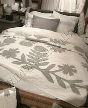 Pottery Barn Lilo Quilt Set Gray King 2 King Shams Floral Farmhouse 3pc - $438.00