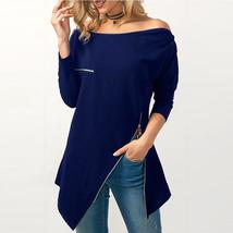 2018 New Women Sexy Off Shoulder Zipper Blouse Tops Casual Long Sleeve Slim Fit  - $43.77