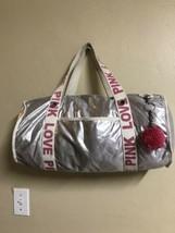 Victoria's Secret Pink Silver Shimmer Bag Travel Overnight Big Duffle Tote Bag - $12.19