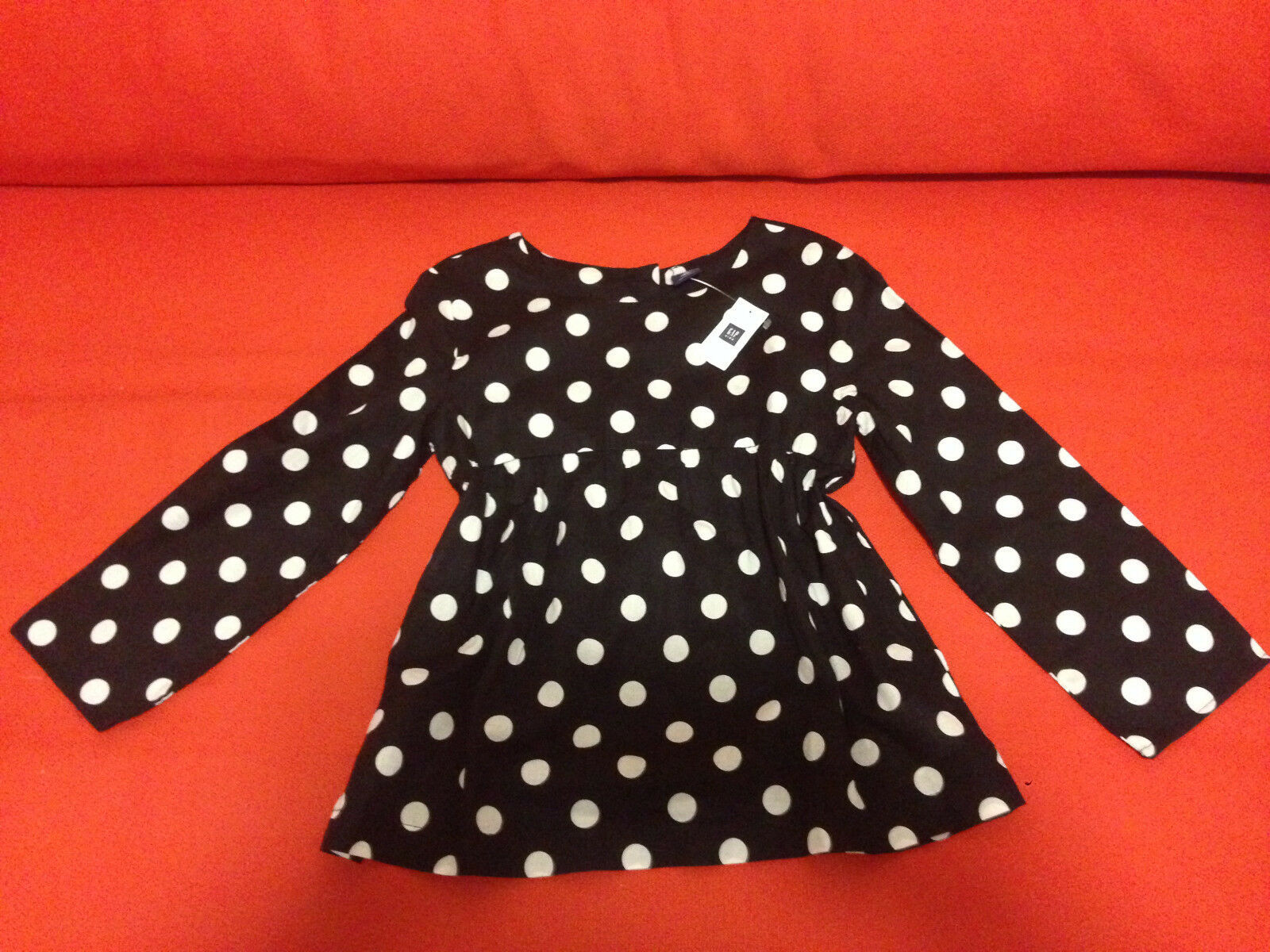 GAP Kids Girls Blouse Top 12 Babydoll Black White Polka Dot Long Sleeve Cotton