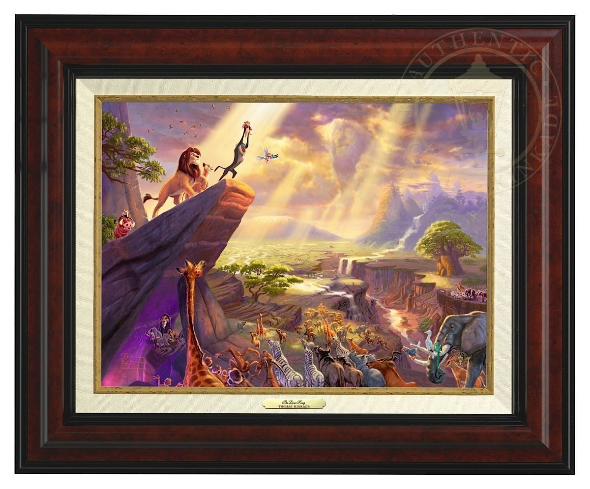 Primary image for Thomas Kinkade Disney Lion King 12 x 16 Canvas Classic (Burl Frame)