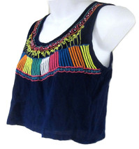 Fun & Flirt By Japna Crop Tank Top sz XS blue embroidered NEW 9529 - $15.00