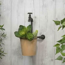 Metal Planter with Decorative Faucet Wall Mounted Garden Pot - $79.95