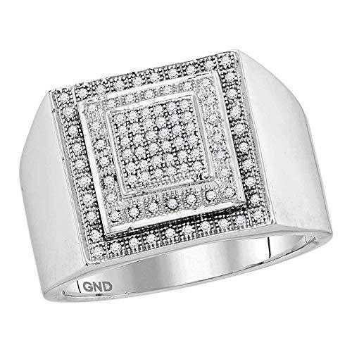 Primary image for The Diamond Deal 10kt White Gold Mens Round Diamond Square Frame Cluster Ring 1/