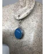 Vintage Blue Chalcedony 925 Earrings Sterling Silver Leverbacks - $51.47
