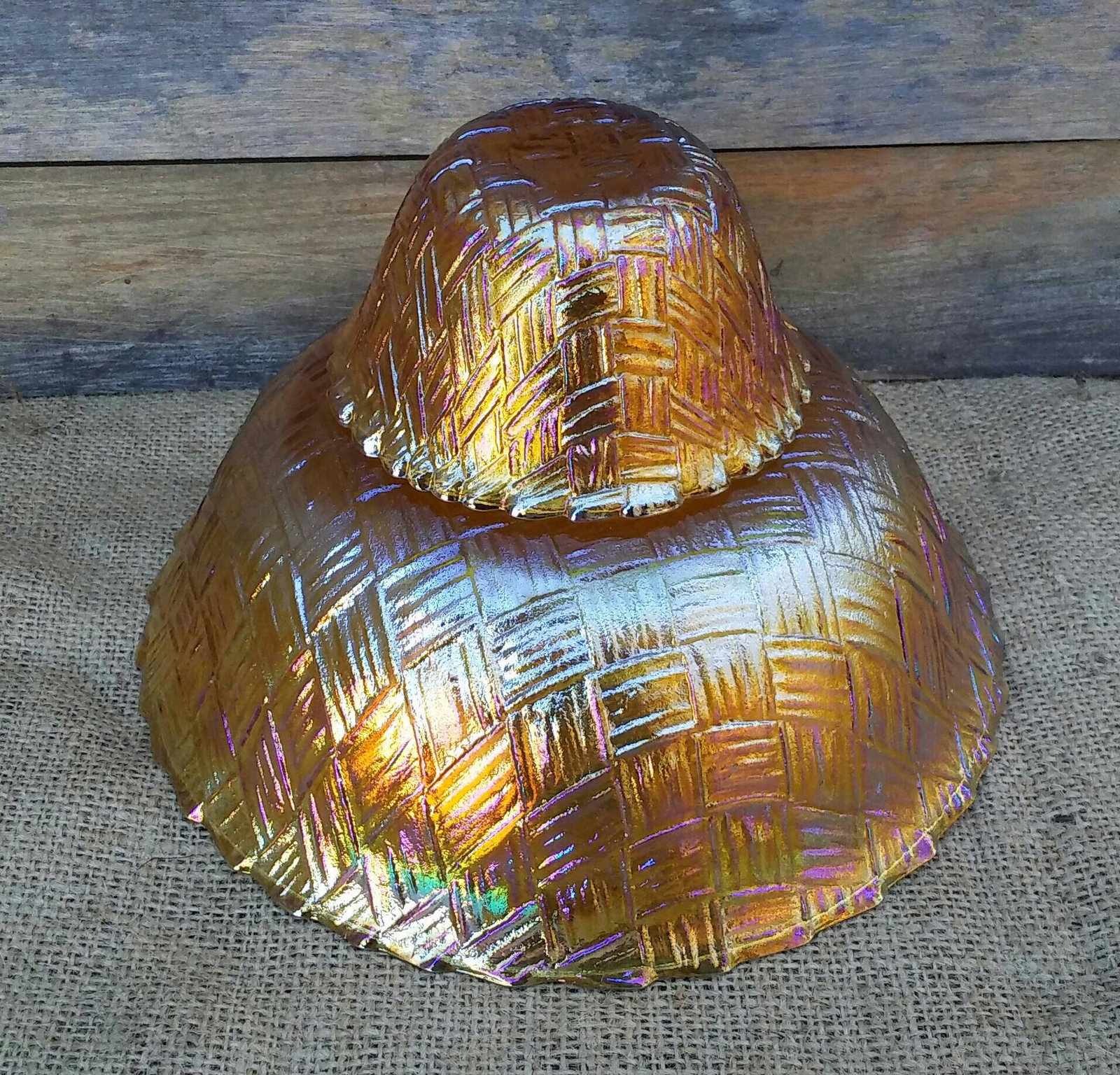 Vintage Indiana Glass Bowls, Set of 2, Carnival Glass, Weavetex Pattern