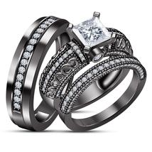 10k Black Gold Finish 925 Silver Diamond Engagement Ring Wedding Band Tr... - $165.89