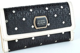 Authentic Guess Beige Black PVC Leather Trifold Ladies Wristlet Wallet ... - $98.01