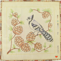 """Vintage 70's Lynne Marie Palm Beach Hand Painted Canvas """"498"""" Cockatoo &... - $32.31"""
