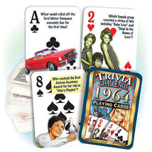 "Happy 55th Birthday (Age 55) FACTS FROM YEAR ""1964"" TRIVIA PLAYING CARDS - $9.99"