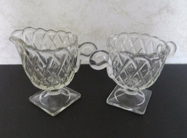 Indiana Glass Pretzel Pattern Open Footed Sugar Bowl and Creamer Clear C... - $14.84