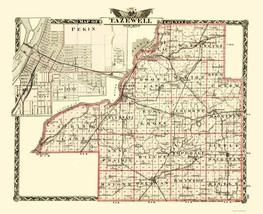 Tazewell Illinois Landowner - Warner 1870 - 23 x 28.26 - $36.95+