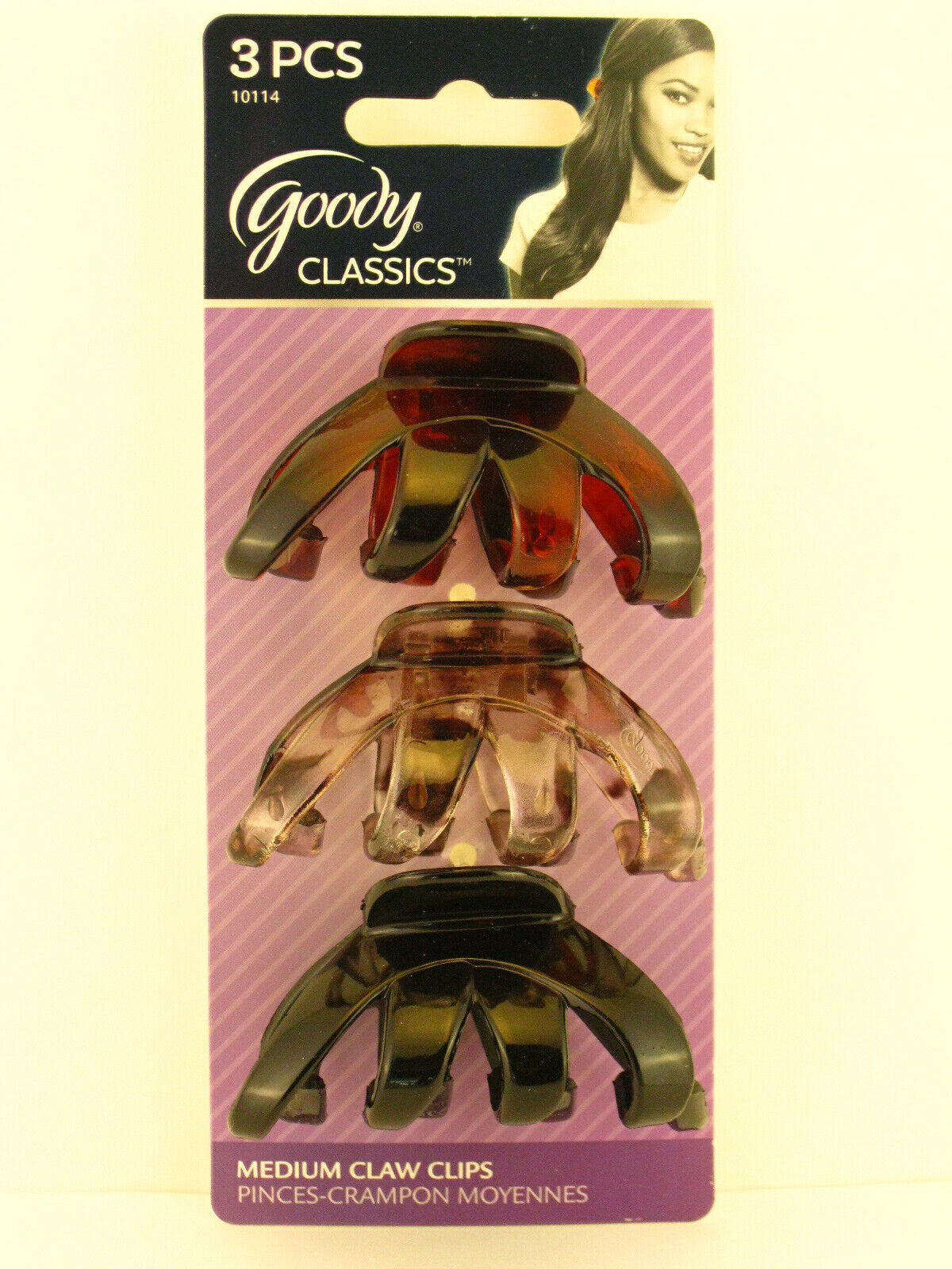 76647 GOODY COLOUR COLLECTION BRUNETTE LARGE CLAW HAIR CLIPS 2 PCS.