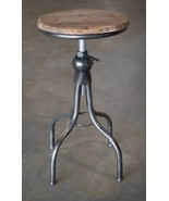 Country WOODEN TOP STOOL Farmhouse Rustic Primitive Vintage Industrial - $152.99