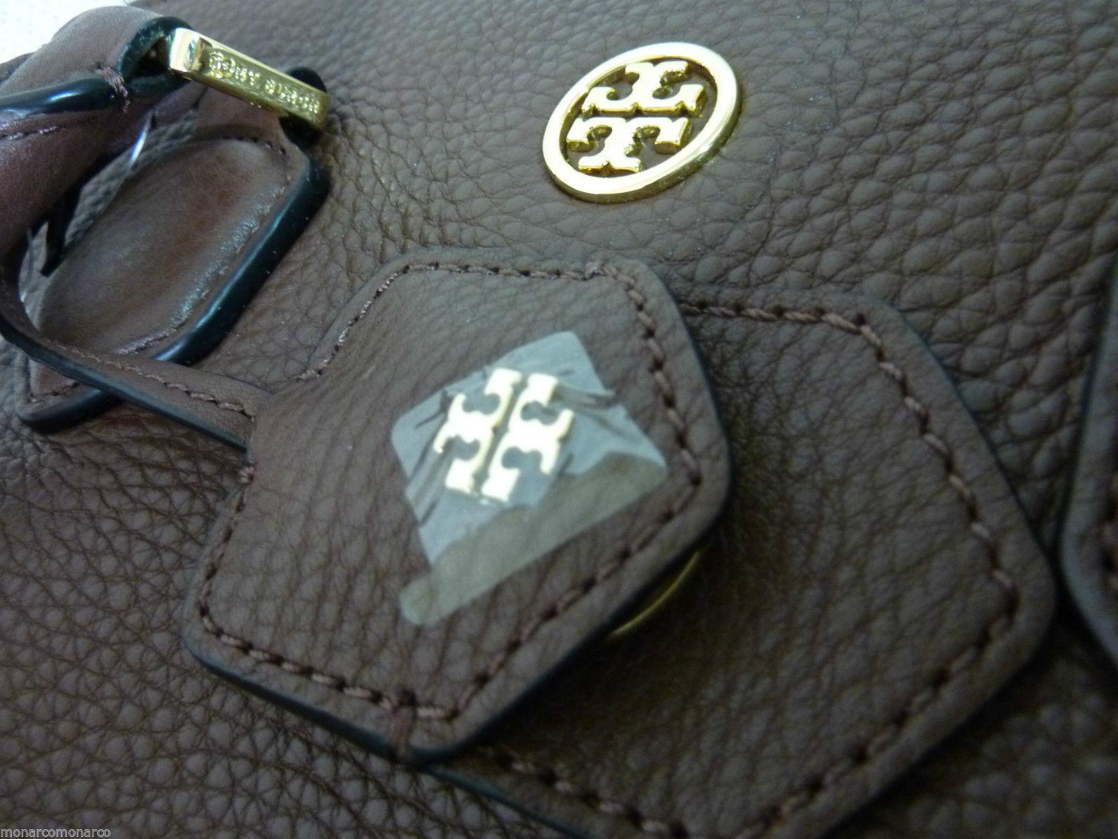 NWT Tory Burch Dark Walnut Brown Pebbled Leather Robinson Open Dome Satchel $535