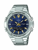 CASIO - AMW860D-2AV - Quartz with Stainless-Steel Strap Men's Watch - Si... - $98.95