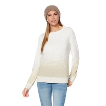 G Giuliana Metallic Pull-Over Style Sweater Knitted Ivory Gold 2X NEW 57... - $45.52