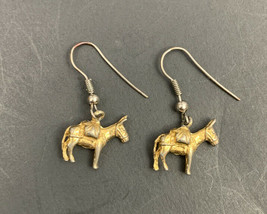 Donkey Dangle Earrings Gold Tone Dainty Pierced Hook Democrat Jewelry Mule - $11.84