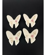 Vintage Homco Lasting Products Pink Roses Porcelain Butterflies Wall Hanging 4 - $24.03