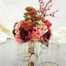 Artificial Silk Flower Nostalgic Tea Rose Berry Mash Bridal Bouquet - $88.00