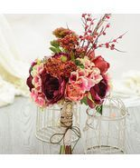 Artificial Silk Flower Nostalgic Tea Rose Berry Mash Bridal Bouquet - £70.65 GBP