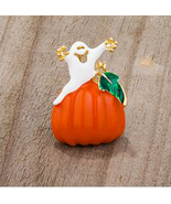Pumpkin and Ghost Brooch with Crystals, Halloween Colors, pin, Fall jewelry - $42.99