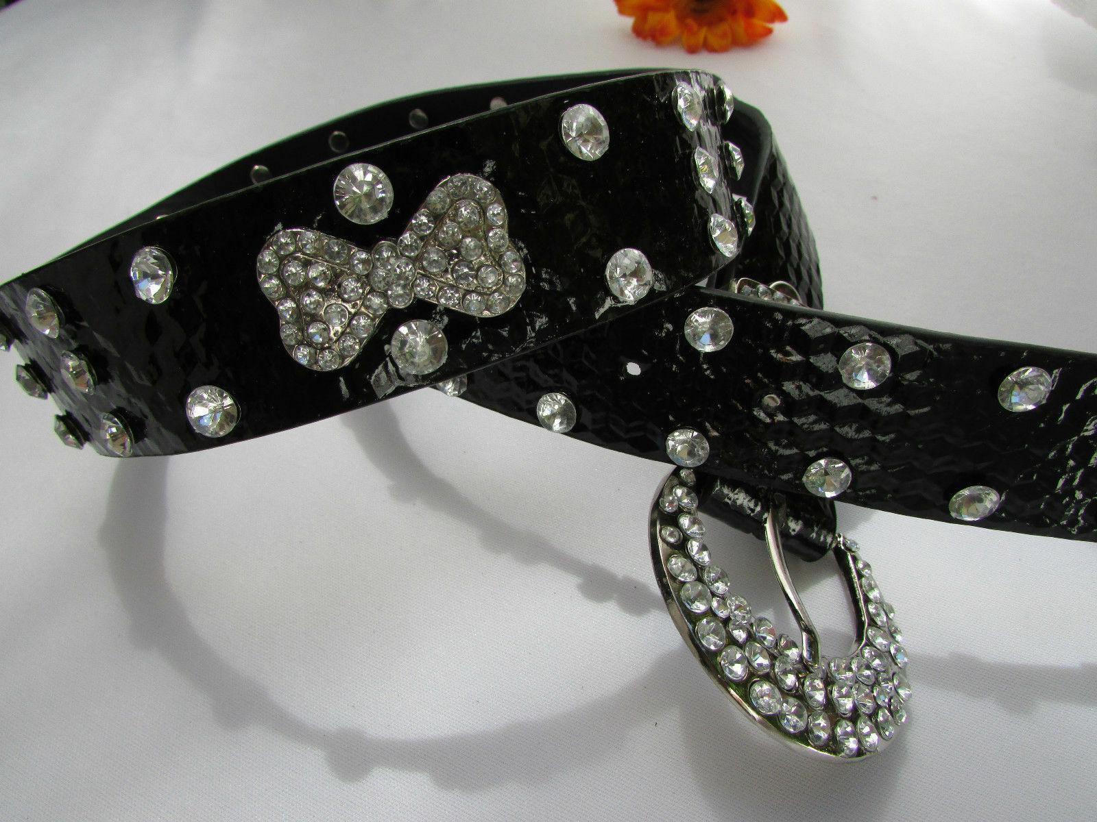 Femme Faux Cuir Noir Western Ceinture Grand Noeud Argent Perles Boucle Fantaisie