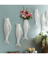 Interior Wall Hung Decorative Fish Shape Vase with Artificial Flowers Ho... - $24.99