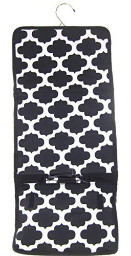 Quatrefoil Lattice Trellis Moroccan Print Hanging Cosmetic Travel Bag Black