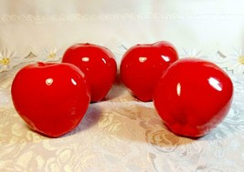 VINTAGE - 4 SHINY RED APPLES CERAMIC FAUX FOOD - PERFECT FOR CENTERPIECE BOWL