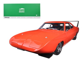 1969 Dodge Charger Daytona Custom Red/Orange with Black Rear Wing 1/18 D... - $91.13