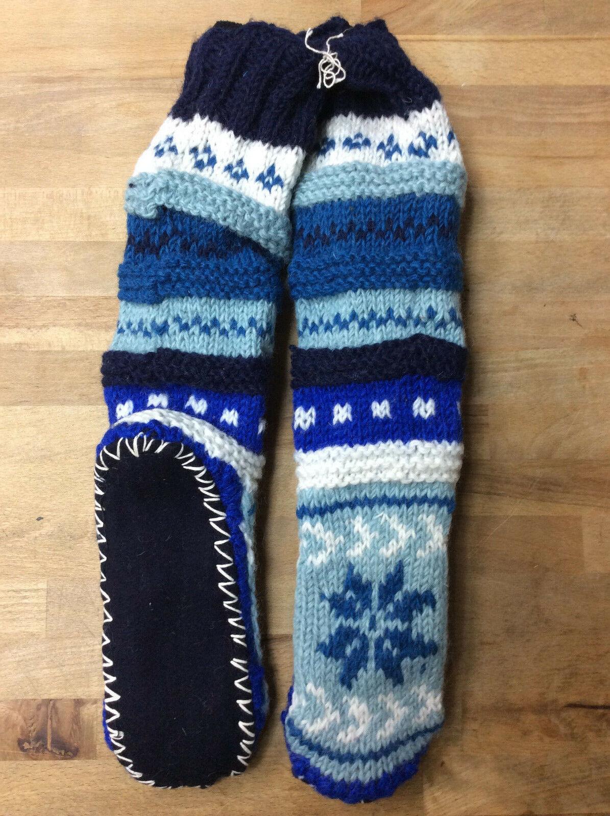 Tibetan Socks Hand Knit Wool Fleece Lined Long Slipper Socks RED GREEN  S