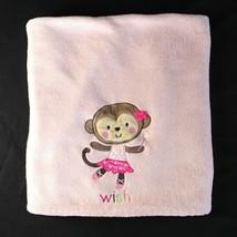 "Carters Child of Mine Baby Blanket Pink Wish Monkey Fleece 40"" x 29"" Security - $24.99"