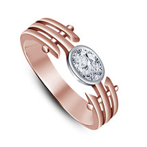 An item in the Jewelry & Watches category: Rose Gold Plated Sterling Silver Oval Cut Sim Diamond Women's Engagement Ring