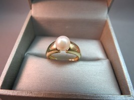 Vintage 14K Yellow Gold Pearl Wide Band Ring Size 6.75 Designer WW 7mm - $197.99