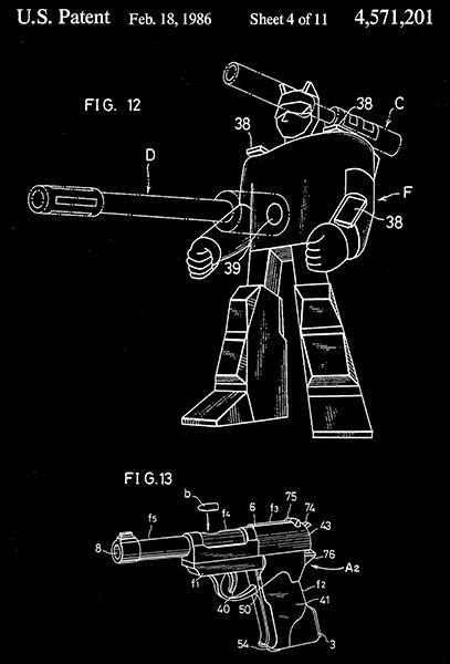 Primary image for 1986 - Gun Convertible Into Robotic-Humanoid Form - Matsuda - Patent Art Poster