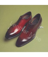 Men's Handmade Whole Cut Oxfords Red Patina Dress Custom Made Shoes For Men - $159.99+