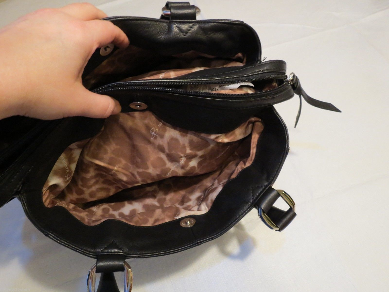 B. Makowsky black soft leather purse tote hand bag organizer computer laptop image 6