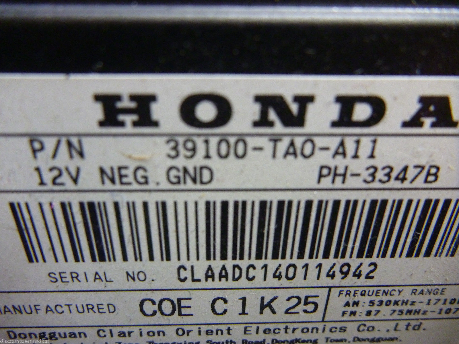 08 09 10 11 12 Honda Accord AMFM Radio Cd MP3 Player 4BA2 39100-TA0-A11 C54342