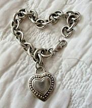 "JUDITH RIPKA Sterling Silver Heart Pendant Country Link 7.5"" Bracelet w ... - $92.95"