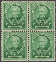 1940 Horace Mann Block of 4 US Postage Stamps Catalog Number 869 MNH