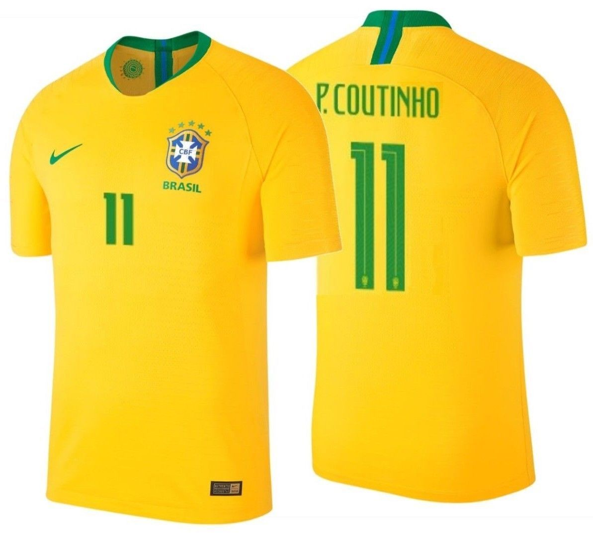 04f9da5ca32 S l1600. S l1600. Previous. NIKE P. COUTINHO BRAZIL VAPOR MATCH AUTHENTIC  HOME JERSEY FIFA WORLD CUP 2018.